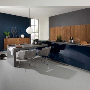 Nolte Hoogglans blauw met hout